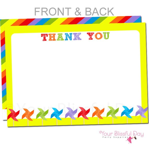 Colorful Pinwheels Thank You Cards | Pinwheel Thank You Card | Pinwheel Stationery | Colorful Pinwheel Party Thank You Card #520