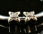 Diamond 18k Sterling Silver Spacer Bead Pair Fits Trollbeads ONLY