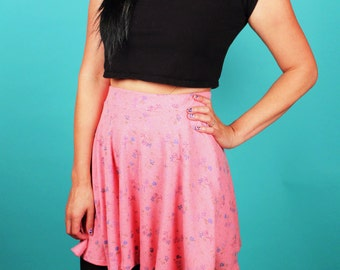 In Memory of Grunge Pink Floral Skirt