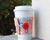 Cup Cozy - Coral and Aqua Polygon - Geometric Print Coffee Cup Cozy - Tea Cozy - Sewn Cup Wrap - CK Stitches CKStitches