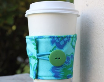 Reusable Coffee Sleeve - Large Blue and Green Floral Coffee Cozy - Jennifer Paganelli Honey Child - Coffee Java Jacket - Coffee Shop Sleeve