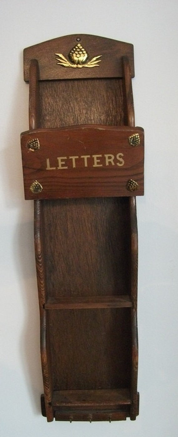 Items similar to adorable wood wall rack mail bills and key holder wall rack wall decor mail - Wooden letter and key holder ...