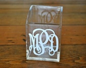 Personalized Acrylic Cosmetic Brush Holder - Monogram Pencil Cup