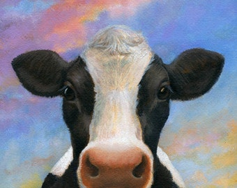 Cow Print, Cow Portrait Print, Cow Art, Farm Print, Kitchen Decor, Country Decor, Farm Art, Animal Lover Gift, Cow Lover, Camembert Cheese