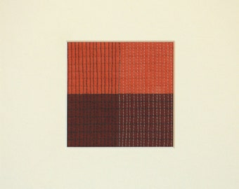 Grid Series, Grid #001, Original Modern Fiber Art, Small Modern Art Quilt for the wall, Red Art, Geometric Art