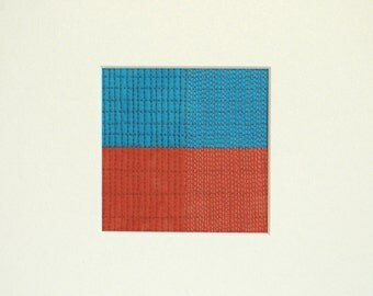 Grid Series, Grid #003, Original Modern Fiber Art, Small Modern Art Quilt for the wall, Turquoise and Coral Geometric Art