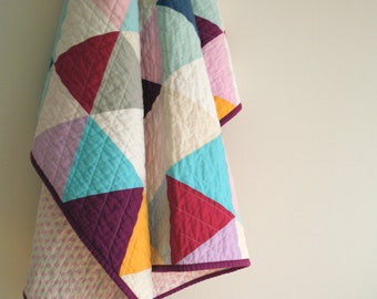 SALE - 10% off - Multi-color Equilateral Triangles - Lap or Crib Size Quilt