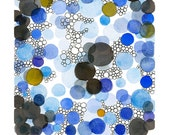 watercolor painting - original painting - Abstract painting blue dots - watercolor art