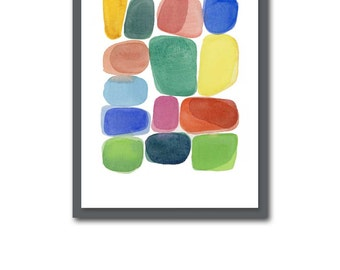 Abstract art, Watercolor painting, watercolor print, color blocks, abstract watercolor art green red yellow colorful home decor