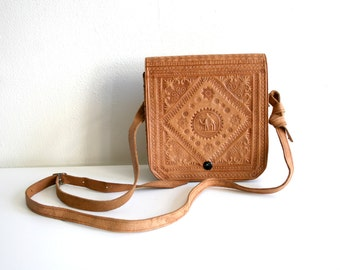Tooled Camel Satchel