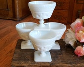 RESERVED for NICOLE - 4 McKee White Milk Glass Sherbets - Dimple Thumbprint - Oak Hill Vintage