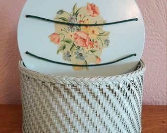 Wicker Sewing Basket in Mint Green by Harvey - Oak Hill Vintage