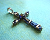 Sterling Silver Vintage Cross - Dark Sapphire Crystal Stones - Gorgeous Pendant