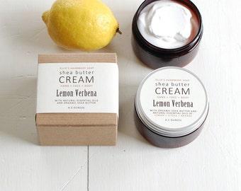 LEMON VERBENA Shea Butter Cream - with pure essential oils + organic shea butter - paraben free - 4.5 ounces