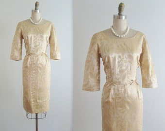 50's Cocktail Dress // Vintage 1950's Gold Floral Brocade Cocktail Party Evening Dress S