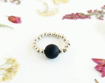 Matte Onyx Ring Black Onyx Ring Silver Matte Black Ring