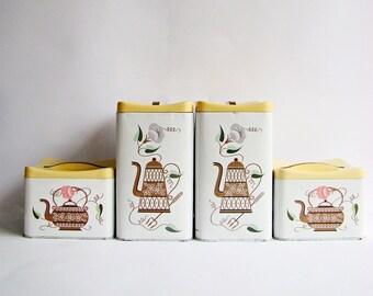 Set of 4, 1950s Kitchen Canister Set, Willow Australia, Mid Century Design, Coffee Pot Design, 50s Kitchen Storage, Pantry Storage Tins,