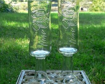 Beer Bottle Wine Glasses Bud Light Lime Goblets Candle Holders Set Of 2