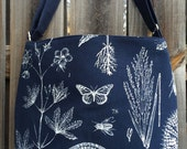 Diaper Bag, Cross Body Purse, Large, zipper closure, lots of pockets - Navy Blue and White Plants and Butterfly
