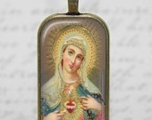 Virgin Mary Antique Catholic Icon Art Glass Tile Pendant Necklace Handmade Christian Jewelry Holy Mother