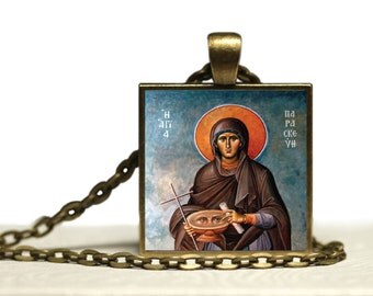 St Paraskevi Greek Orthodox Icon Glass Tile Pendant  Religious Necklace Handmade Christian Jewelry