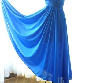 "Olga Royal Blue Sweeping Nightgown 180"" Sweep New Old Stock Unworn Large"