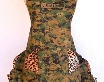 Womens Camoulflage Apron, US Marines, Leopard/Cheetah Print Ruffle , Removable Marine Tape, With Flower Pin
