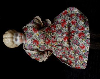 "REDUCED Antique Blonde Low Brow China doll 13 1/2"" Cabinet size"