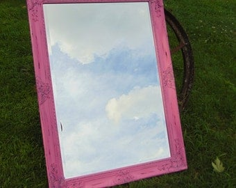 Shabby Chic Mirror, Pink Large Mirror,  Pink Mirror, Nursery Mirror,or Choose Color , Bathroom mirror, Size, 42 x 30,