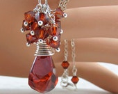 Crystal Red Magma Cluster Silver Wire Wrapped Necklace