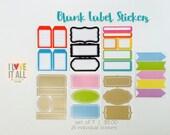 Blank Label Stickers | Planner Travelers Notebook Journal Project Life Insert Mini Album Scrapbooking . Pastel Black Kraft Colorful Fun Cute