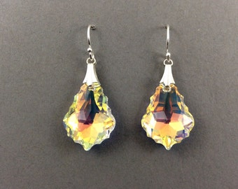Crystal Earrings In Silver With Aurora Borealis Swarovski Crystal Pendant