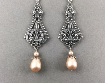 Bridal Chandelier Earrings Vintage Weddings Large Silver Filigree And Cream Swarovski Crystal Teardrop Pearls