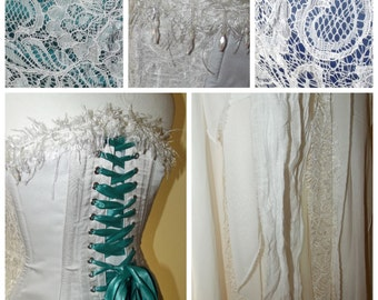 Bohemian draping wedding dress. Alternative corset dress / prom. Ivory and accent colour of your choice Custom MADE TO ORDER/ measure