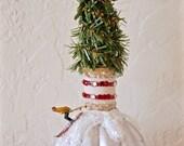 Vintage Jello Mold w Christmas Tree & Skier