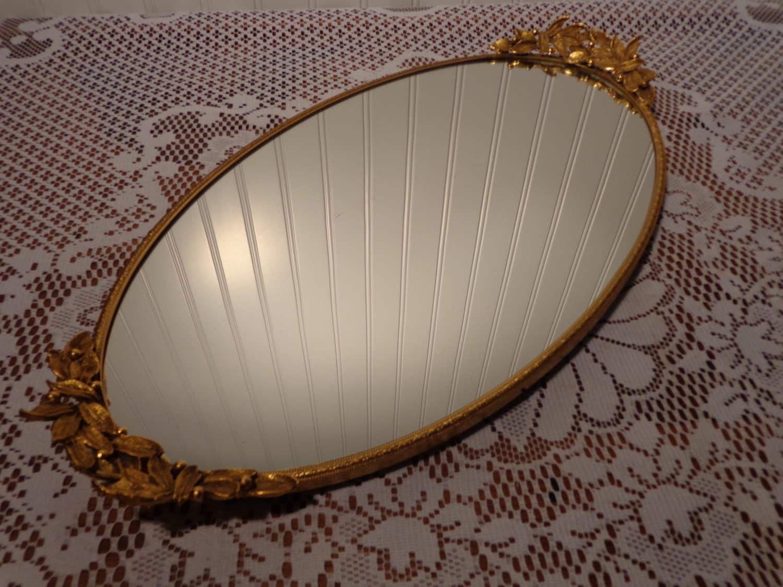 Vintage Large Oval Vanity Mirror Tray Large Perfume Mirror