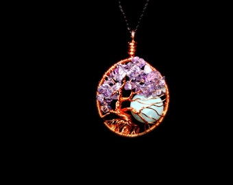 Moon Tree of Life Necklace,  Copper Tree of Life, Amethyst Moon Jewelry, Purple Tree Pendant, Full Moon Necklace, Gypsy Jewelry,Silver Moon