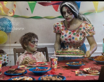 8x10 Signed Archival Print Zombie Boy Kid Birthday Party Cake Mom Make a Wish Candles Primary Colors Halloween Photography Photograph Art