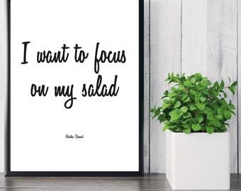 Martha Stewart Digital Print. Salad. Kitchen Print. Wall Decor. Wall Art. Printable. Poster. 8 x 10. Typography. Black and White. 11 x 14.