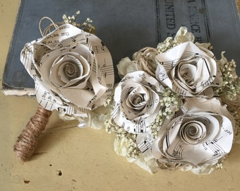Sheet Music Boutonniere and Wrist Corsage Matching Set for Weddings, Homecoming, Prom, and Other Formal Occasions, Jute Baby's Breath Accent