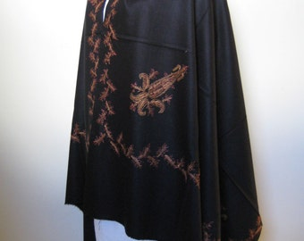 Kashmir Wool Shawl/Stole. Regency Style. Black Wool, Paisley Hand Embroidered.