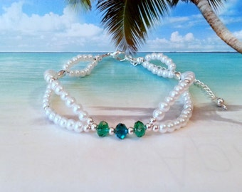 White pearl bridal ankle bracelet with green cyrstals beach wedding jewelry gifts for her white anklet