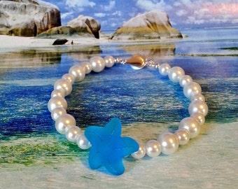 Starfish seaglass white pearl bracelet sea glass bracelet beach wedding jewelry memory wire bracelet