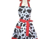 Sexy Classic Flirty Apron, Cow Print apron, red ties and band around the bottom, aprons for women, bridal shower gift, cute women's apron