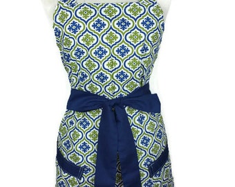 Classic Apron for women, Navy/Green apron, Navy ties, bridal shower gift, Christmas gift, optional monogram, gifts for mom, cute pinup apron