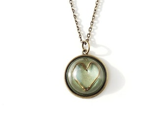 Fish Hook Heart Pendant, Green Resin Cabochon Pendant, Bronze, Resin Jewelry, Heart Jewellery, Fishing Jewelry, Punk Goth, UK (2055)