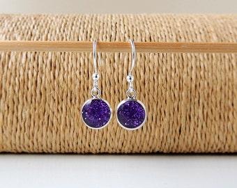 Purple Drop Earrings, Little Purple Glitter Charm Earrings, Resin Jewelry, Purple Jewellery, UK (733)