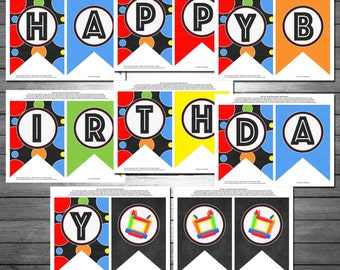 Bounce House Happy Birthday Banner, INSTANT DOWNLOAD,  Primary Colors Birthday Banner, Printable Happy Birthday Banner, Bounce House Party