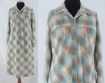 Vintage Seventies Dress - 1970s Plaid Shirtwaist Dress - 70s Button Down Dress - XL Vintage Day Dress - Plus Size Vintage
