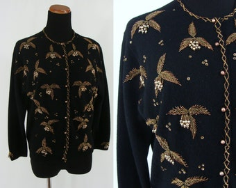 Vintage Fifties Sweater - 1950s Black Beaded Cardigan - 50s Beaded and Sequined Wool Sweater